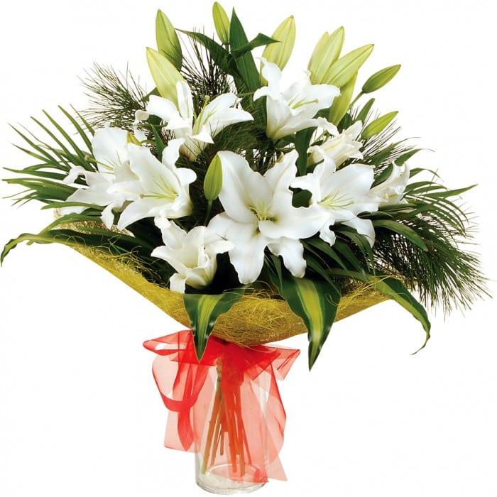 Букет с лилией 1 шт робелини и гипсофилой, купить цветы после