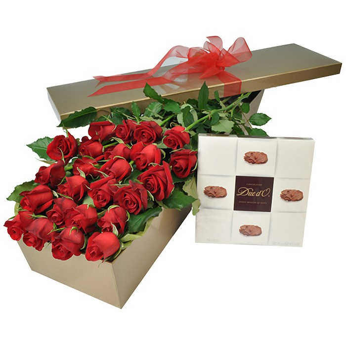 24 Long Stem Red Roses In A Box With Chocolates Flowersales